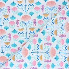 Tissu coton Dashwood Into the Blue - Seashell x 10cm