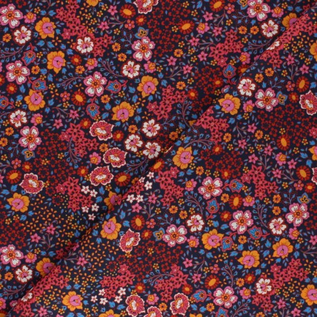 Flowery Batiste Cotton fabric - red x 10cm