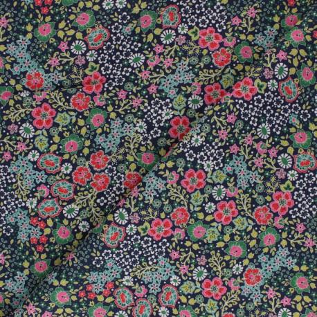 Flowery Batiste Cotton fabric - green x 10cm