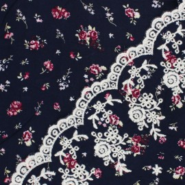Scalloped embroidered viscose fabric - navy blue Stazzo x 10 cm