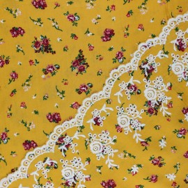 Scalloped embroidered viscose fabric - mustard yellow Stazzo x 10 cm