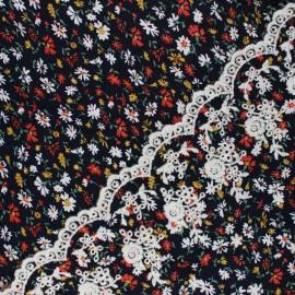 Scalloped embroidered viscose fabric - black Rodia x 10 cm