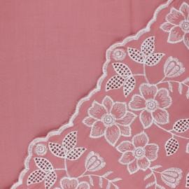 Scalloped embroidered viscose fabric - pink Scilla x 10 cm