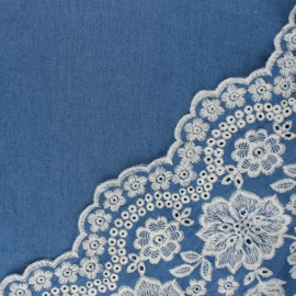 Scalloped embroidered Chambray cotton fabric - blue Louise x 10 cm