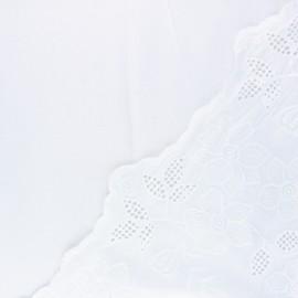 Scalloped embroidered viscose fabric - white Scilla x 10 cm