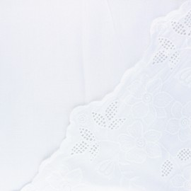 Tissu viscose brodé festonné Scilla - blanc x 10 cm
