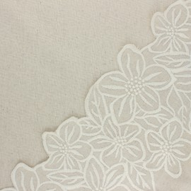 Scalloped embroidered linen and viscose fabric - natural Faustine x 10 cm