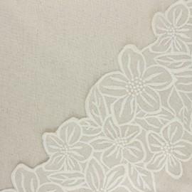 Tissu lin viscose brodé festonné Faustine - naturel x 10 cm