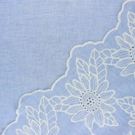 Scalloped embroidered voile cotton fabric - blue Ninon x 10 cm