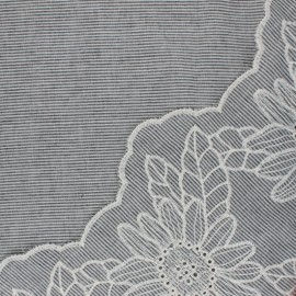 Scalloped embroidered voile cotton fabric - grey Ninon x 10 cm