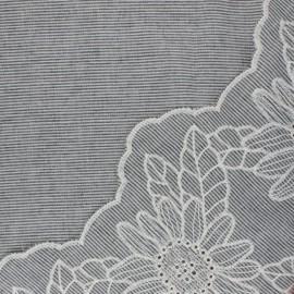 Scalloped embroidered voile cotton fabric - grey Ninon x 10 cm