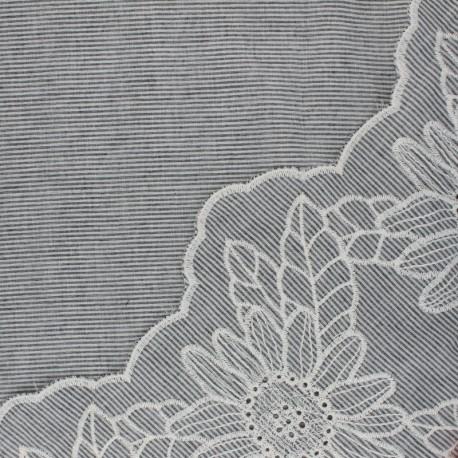 Tissu voile de coton brodé festonné Ninon - gris x 10 cm