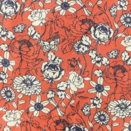 Tissu Twill Viscose été indien - rouge x 10cm