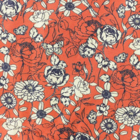 Twill Viscose Fabric - red Indian summer x 10cm