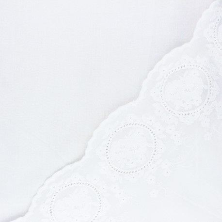 Scalloped embroidered voile cotton fabric - off-white Constance x 10 cm