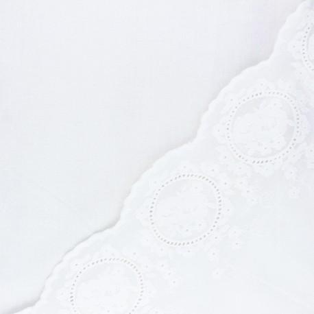 Tissu voile de coton brodé festonné Constance - blanc cassé x 10 cm