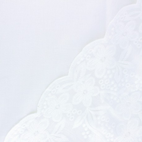 Scalloped embroidered voile cotton fabric - off-white Chloé x 10 cm