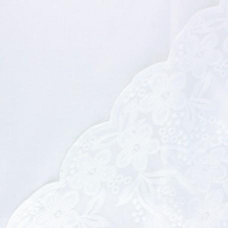 Tissu voile de coton brodé festonné Chloé - blanc cassé x 10 cm