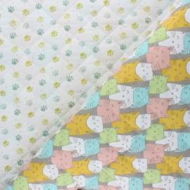 Tissu matelassé Réversible Funny Cat - pastel x 10cm