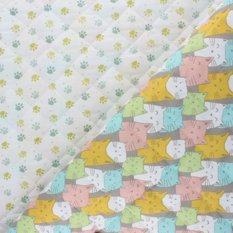 Quilted cotton fabric - multicolor Funny Cat x 10cm