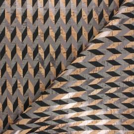 Tissu liège véritable Chevrons métallisés - doré x 10cm