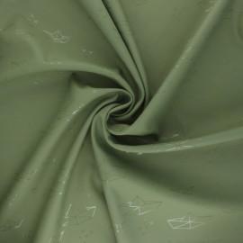 Tissu enduit spécial ciré Bateau Origami - kaki x 10cm
