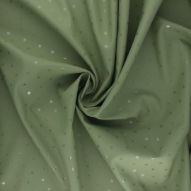 Special rain waterproof fabric - khaki green Pois brillants x 10cm