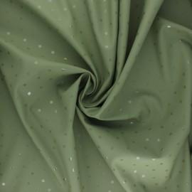 Tissu enduit spécial ciré Pois brillants - kaki x 10cm