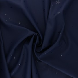 Tissu enduit spécial ciré Etoiles - bleu marine x 10cm