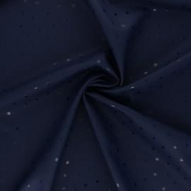 Tissu enduit spécial ciré Pois brillants - bleu marine x 10cm