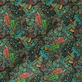 Leather Imitation fabric - black Jungle Pop x 10cm