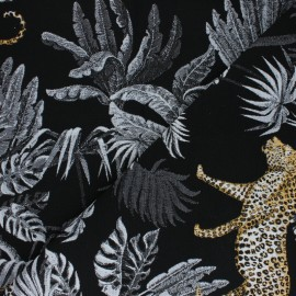 Lurex Jacquard fabric - black Tiger x 50cm