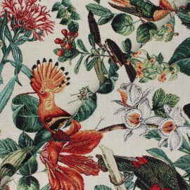 Jacquard fabric - raw Birds x 50cm