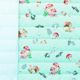 ♥ Coupon 190 cm X 150 cm ♥ Tissu matelassé nylon doudoune Champignons - mint