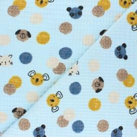 Tissu piqué de coton nid d'abeille Confetti Friends - bleu x 10cm