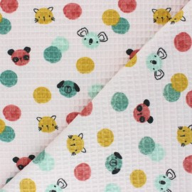 Honeycomb waffle stitch cotton fabric - pink Confetti Friends x 10cm