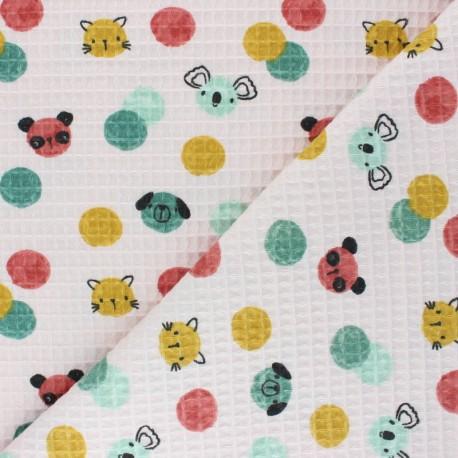 Honeycomb waffle stitch cotton fabric - pink Confetti Friends x 10cm