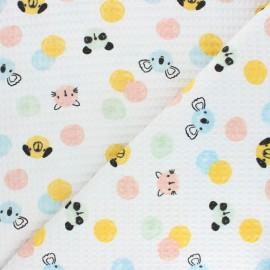 Tissu piqué de coton nid d'abeille Confetti Friends - blanc x 10cm