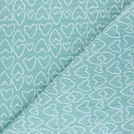 Tissu piqué de coton nid d'abeille You're a Sweetheart - bleu x 10cm