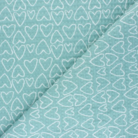 Honeycomb waffle stitch cotton fabric - blue You're a Sweetheart x 10cm