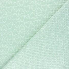 Tissu piqué de coton nid d'abeille You're a Sweetheart - vert x 10cm