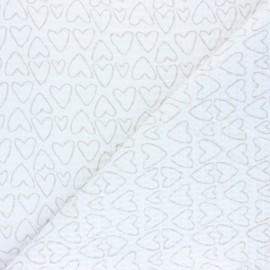 Tissu piqué de coton nid d'abeille You're a Sweetheart - blanc x 10cm
