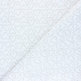 Waffle stitch cotton fabric - white You're a Sweetheart x 10cm