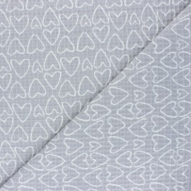 Waffle stitch cotton fabric - grey You're a Sweetheart x 10cm