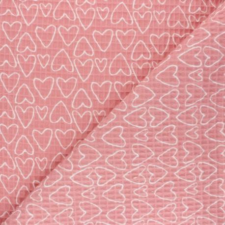 Tissu piqué de coton nid d'abeille You're a Sweetheart - rose x 10cm