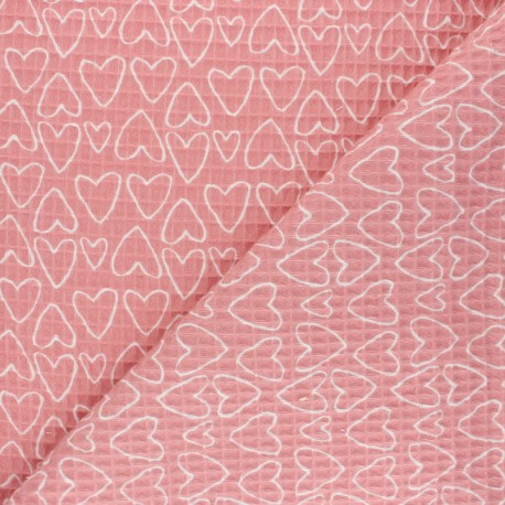 Waffle stitch cotton fabric - pink You're a Sweetheart x 10cm