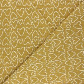 Tissu piqué de coton nid d'abeille You're a Sweetheart - jaune x 10cm