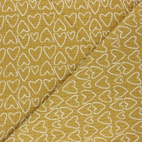 Waffle stitch cotton fabric - yellow You're a Sweetheart x 10cm