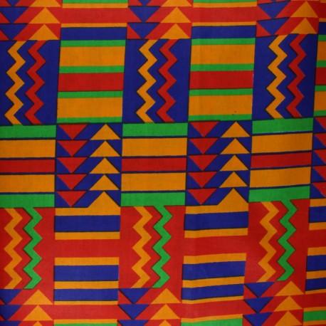 Tissu Wax Polygala - orange x 10cm