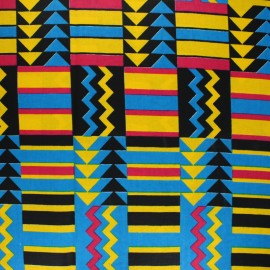 Tissu Wax Polygala - bleu x 10cm